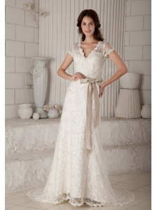Custom Made Column / Sheath V-neck Lace Wedding Dress Brush Train Bow