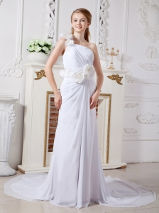 Custom Made Column One Shoulder Beach Wedding Dress Chapel Train Chiffon Hand Made Flowers