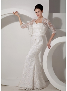 Custom Made Column Sweetheart Lace Wedding Dress Floor-length Belt
