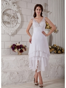 Custom Made Column V-neck Beach Wedding Dress Tea-length Chiffon Embroidery