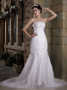 Custom Made Mermaid Strapless Lace Wedding Dress Chapel Train Taffeta and  Beading