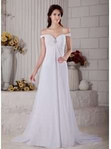 Custom Made Wedding Dress A-line Off The Shoulder Beading Court Train Chiffon
