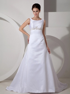 Custom Made Wedding Dress A-line Scoop Appliques Court Train Satin