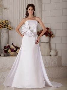 Customize A-line / Princess Strapless Wedding Dress Court Train Satin Beading and Bow