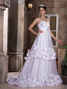 Cute A-line Wedding Dress Sweetheart Hand Made Flowers and Bow Sweep Train Taffeta and Tulle