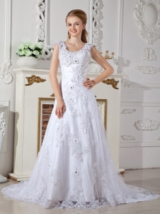 Discount A-line Scoop Lace Wedding Dress Court Train Appliques