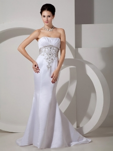 Discount Mermaid Strapless Wedding Dress Brush Train Satin Embroidery and Ruch