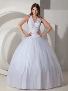 Elegant Ball Gown Halter Wedding Dress Taffeta Beading Floor-length