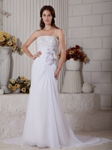 Elegant Column Strapless Beach Wedding Dress Court Train Chiffon Beading
