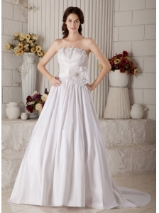 Elegant Wedding Dress A-line Strapless Beading and Hand Made Flower Brush Train Taffeta