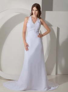 Elegant Wedding Dress Column / Sheath Halter Beading Court Train Chiffon
