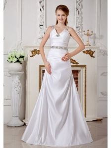 Exclusive Wedding Dress A-line V-neck Beading Brush Train Satin