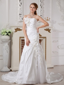 Exclusive Wedding Dress Column Strapless Hand Made Flowers Court Train Taffeta