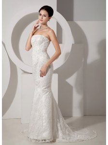 Exquisite Mermaid Strapless Lace Wedding Dress Court Train Beading