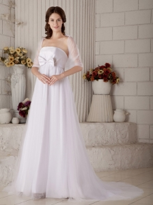 Gorgeous A-line Strapless Maternity Wedding Dress Brush Train Tulle Bow