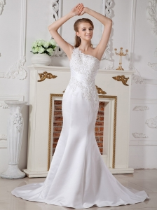 Informal Wedding Dress Mermaid One Shoulder Court Train Satin Lace