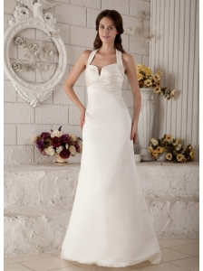 Low Cost Column Halter Wedding Dress Brush Train Satin Ruch