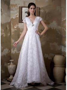 Luxurious A-line V-neck Lace Wedding Dress Brush Train