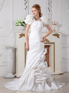Luxurious Column Strapless Wedding Dress Court Train Taffeta Hand Made Flowers Beading