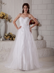 Magnificent Wedding Dress A-line Sweetheart Appliques Brush Train Tulle