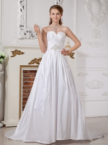 Modern Wedding Dress A-line Sweetheart Appliques Court Train Taffeta