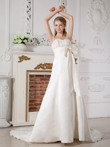 Modest Wedding Dress A-line Sweetheart Beading Court Train Taffeta
