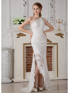 Perfect Column One Shoulder Lace Wedding Dress Brush Train