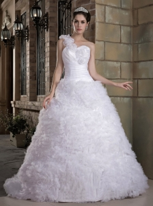 Popular A-line One Shoulder Wedding Dress Brush Train Taffeta and Tulle Hand Made Flowers