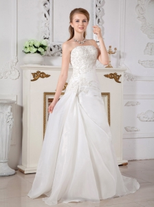 Popular A-line Strapless Wedding Dress Court Train Organza Lace