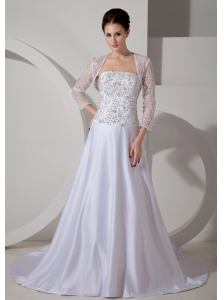 Romantic A-line Strapless Wedding Dress Court Train Satin Embroidery
