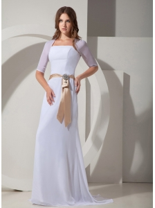 Romantic Column / Sheath Square Beach Wedding Dress Brush / Sweep Chiffon Sashes / Ribbons