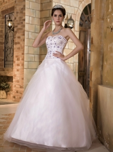 Simple A-line Sweetheart Wedding Dress Taffeta and Tulle Embroidery Floor-length