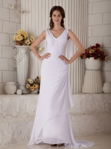 Simple Column V-neck Beach Wedding Dress Brush Train Chiffon Ruch