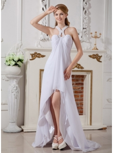 Simple Empire Halter Beach Wedding Dress High-low Chiffon Beading