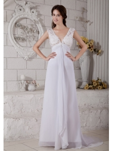 Simple Empire V-neck Brush Beach Wedding Dress Train Chiffon Lace