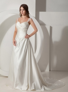 Simple Wedding Dress A-Line / Princess Straps Ruched Court Train Taffeta
