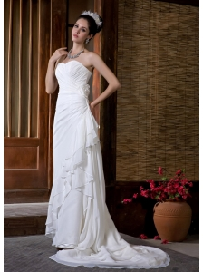 Simple Wedding Dress Column Sweetheart Ruch Court Train Chiffon