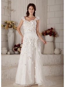 The Super Hot Column Straps Wedding Dress Brush Train Lace Appliques