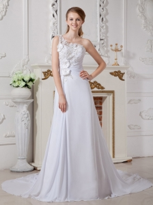Wonderful A-line Wedding Dress One Shoulder Appliques Court Train Chiffon