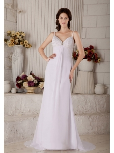 Wonderful Column Spaghetti Beach Wedding Dress Straps Brush Train Chiffon Beading