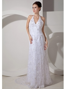 Beautiful Column Halter Wedding Dress Court Train Lace Ruch