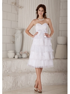 Beautiful Empire Sweetheart Short Wedding Dress Organza and Lace Bow Knee-length