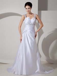 Best Wedding Dress A-line Straps Appliques Court Train Satin