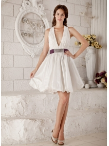 Brand New A-line / Princess V-neck Short Wedding Dress Taffeta Beading Mini-length