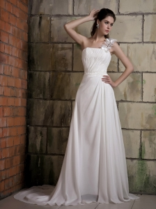 Custom Made A-line One Shoulder Wedding Dress Court Train Chiffon Ruch and Beading