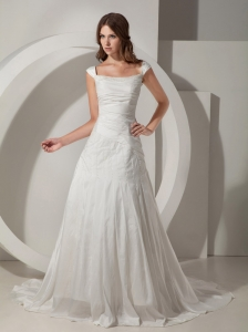 Customize A-Line / Princess Straps Wedding Dress Chapel Train Taffeta