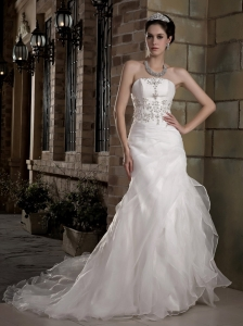 Customize A-line Strapless Wedding Dress Court Train Taffeta and Organza Appliques