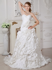 Customize A-line Sweetheart Hand Made Flowers Wedding Dress Court Train Taffeta