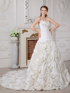 Customize A-line Wedding Dress Sweetheart Court Train Fabric With Roling Flowers Ruch