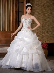 Customize A-line Wedding Dress Sweetheart Sweep Train Taffeta and Organza Beading Pick-ups